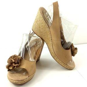 BOC Tan Leather Flower Slingback Wedge Sandals 11